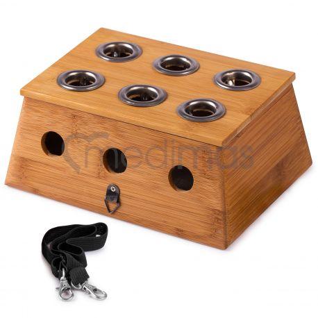 Bambusowe pudełko, uchwyt na sześć moks